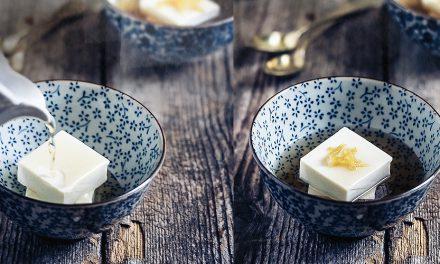 Tofu dessert in sciroppo di zenzero