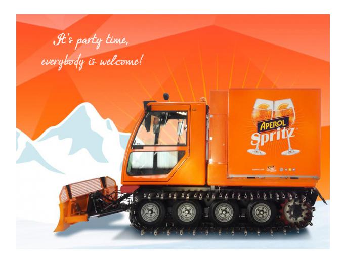 gatto delle nevi aperol spritz