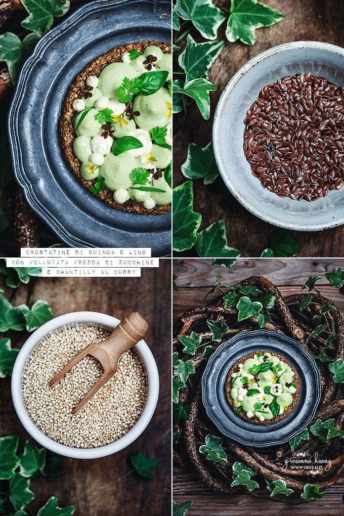 crostatine di quinoa con vellutata di zucchine, chantilly al curry 3