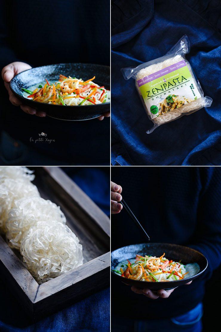 spaghetti di shirataki con gamberi e verdure