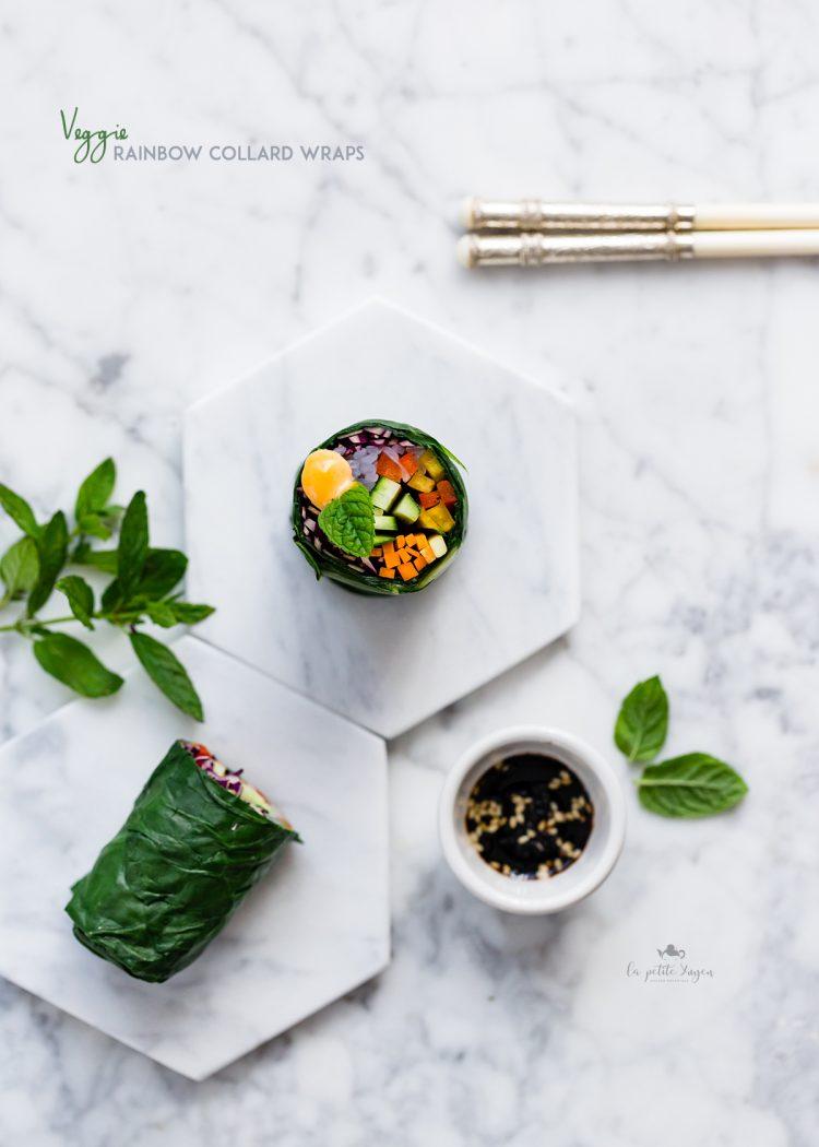 rainbow collard wraps- involtini di cavolo vegetariani