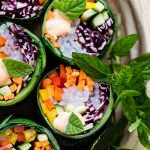 Rainbow collard wraps vegetariani