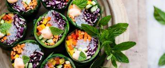 rainbow collard wraps- involtini vegetariani