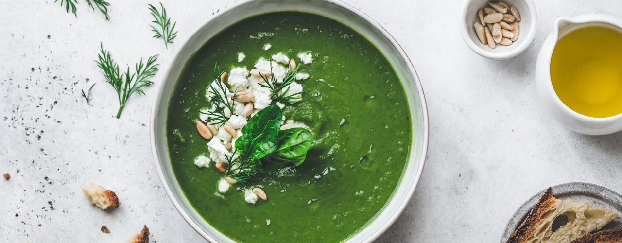 spanakopita soup, crema di spinaci e cavolfiore