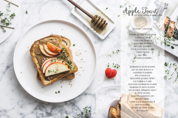 apple toast con salsa tahini al miele e timo