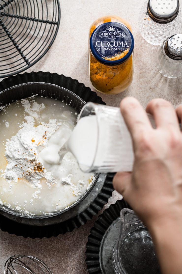 mini pancake di riso al latte di cocco e gamberi