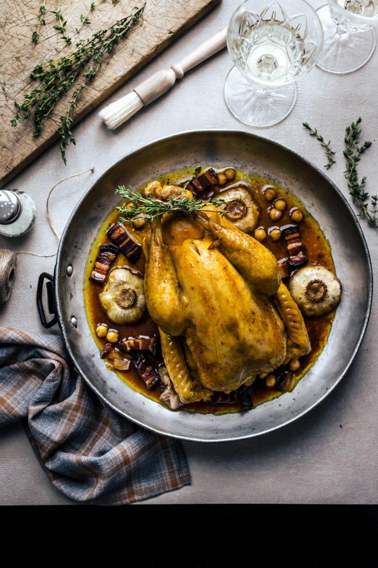 pollo arrosto ripieno di ceci alla paprika